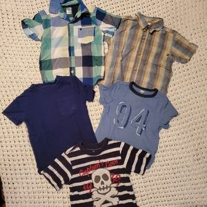 5 short-sleeve shirt mix bundle 2T